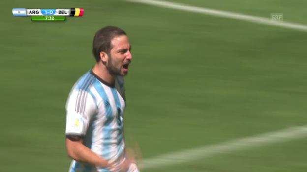Video «FIFA WM 2014: Argentinien - Belgien: Das 1:0 durch Higuain» abspielen