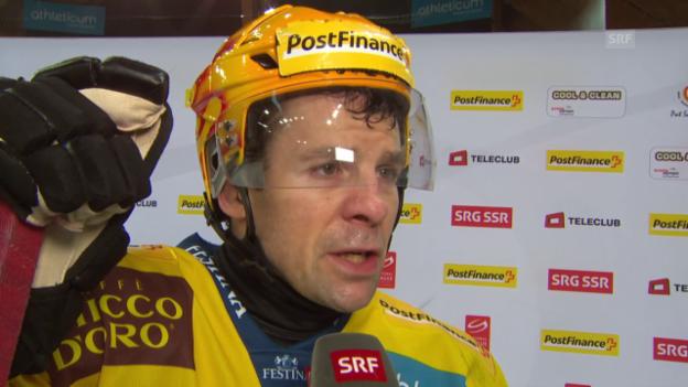 Video «Eishockey: NLA, 39. Runde, Davos - Bern, Interview mit Martin Plüss» abspielen