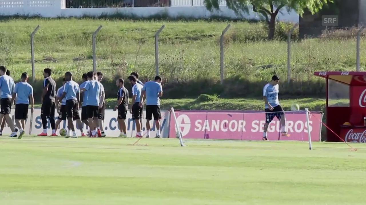 Luis Suarez im Training mit der uruguayischen Nationalmannschaft