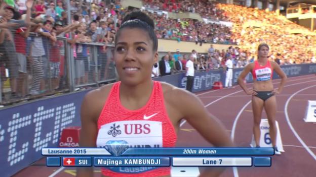 Video «Leichtathletik: Athletissima Lausanne, 200 m Frauen mit Kambundji» abspielen