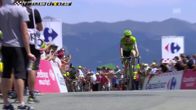 Video «Rad: Tour de France, 11. Etappe, Bergpreis Col d'Aspin» abspielen