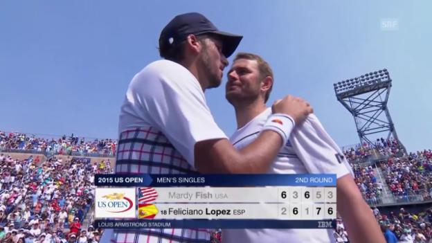 Video «Tennis: US Open, Fish - Lopez, Matchball» abspielen