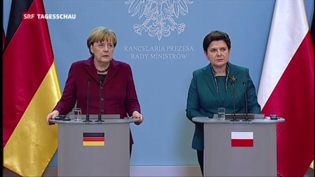 Video «Bundeskanzlerin Angela Merkel besucht Polen» abspielen
