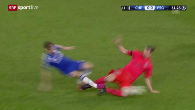 Video «Fussball: Champions League, Achtelfinal Chelsea-PSG, Rot Ibrahimovic» abspielen