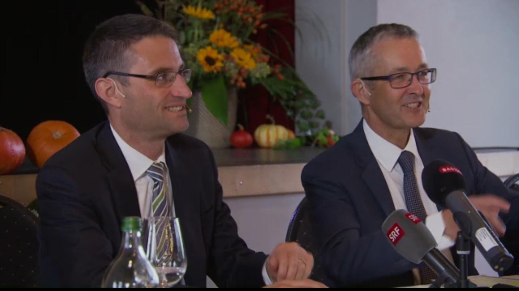 Die Gesundheitsdirektoren Thomas Weber und Lukas Engelberger im Gespräch