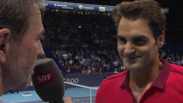 Video «Tennis: Swiss Indoors, Federer-Muller, Platzinterview Federer» abspielen