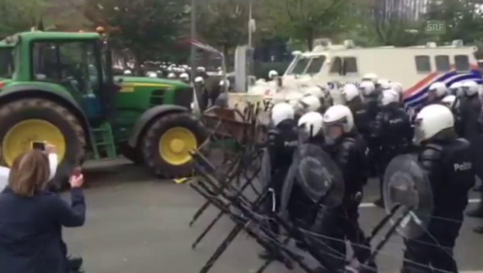 Landwirte fahren in Brüssel auf