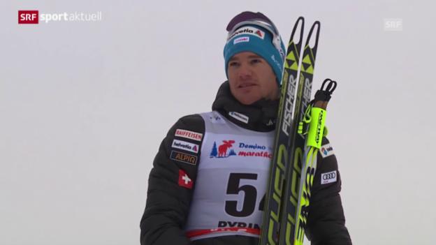 Video «Langlauf: Dario Cologna triumphiert in Rybinsk («sportaktuell»)» abspielen