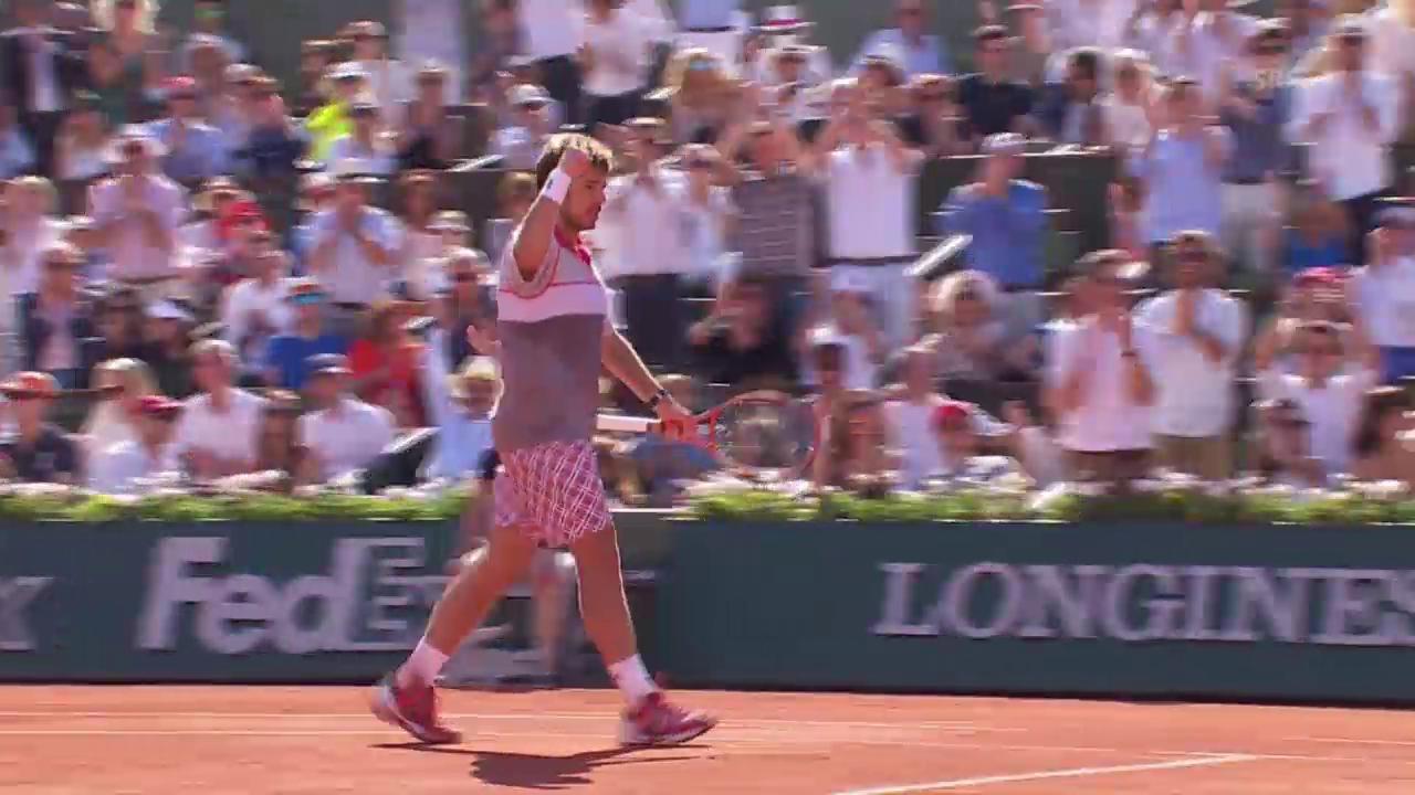 Tennis: Final French Open; Djokovic - Wawrinka, Break Wawrinka 4. Satz