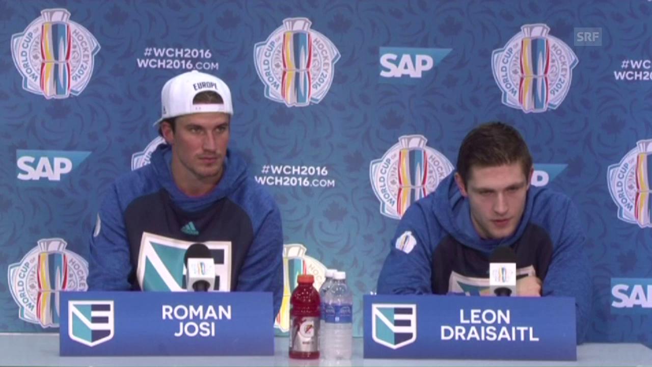 Josi und Draisaitl an der Medienkonferenz (Englisch)