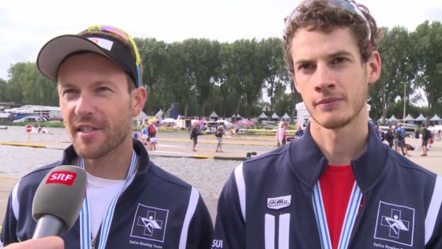Video «Rudern: WM, Interview mit Simon Niepmann und Lucas Tramèr» abspielen