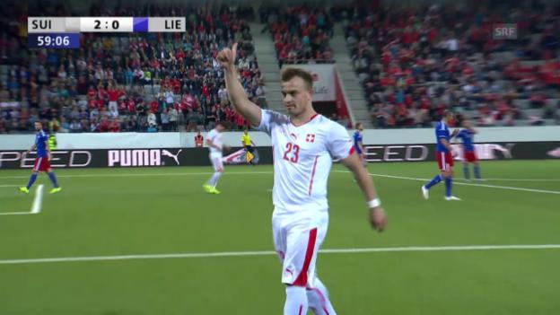 Video «Fussball: Schweiz - Liechtenstein, 2:0 durch Shaqiri» abspielen