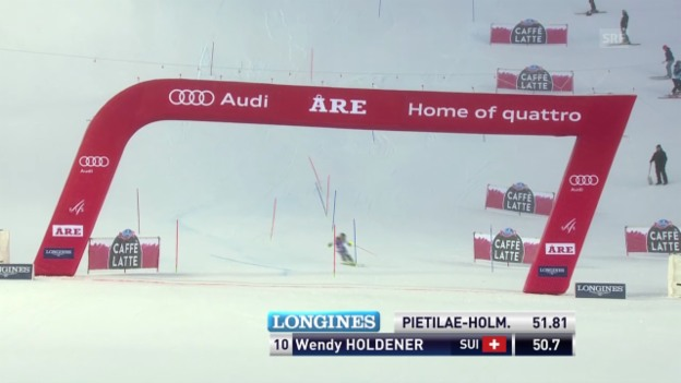 Video «Ski: Weltcup Frauen, Slalom Are, Wendy Holdener 1. Lauf» abspielen