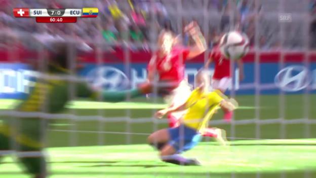 Video «Fussball: Frauen-WM, Schweiz - Ecuador, 7:0 von Bachmann» abspielen