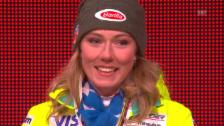 Video «Ski-WM: Siegerehrung Slalom Frauen (14.02.2015)» abspielen