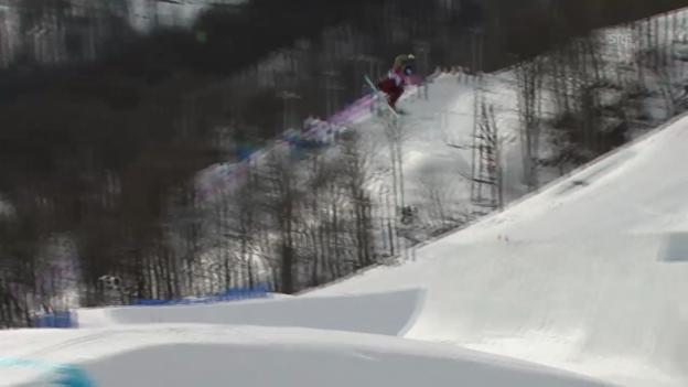 Video «Snowboard Slopestyle: Der 2. Run von Elena Könz (sotschi direkt, 9.2.2014)» abspielen