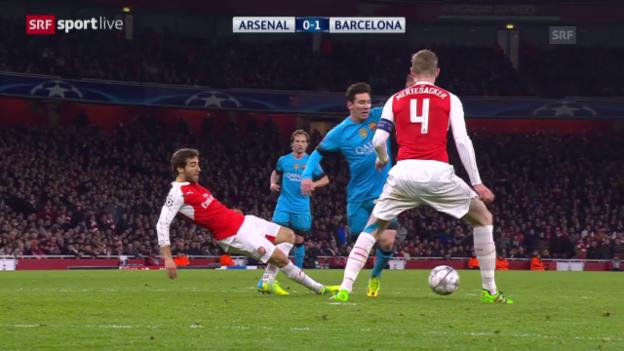 Video «Zusammenfassung des CL-Achtelfinals Arsenal-Barcelona» abspielen