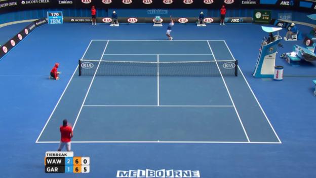 Video «Tennis: Australian Open, Wawrinka - Garcia-Lopez, Tiebreak im 4. Satz» abspielen