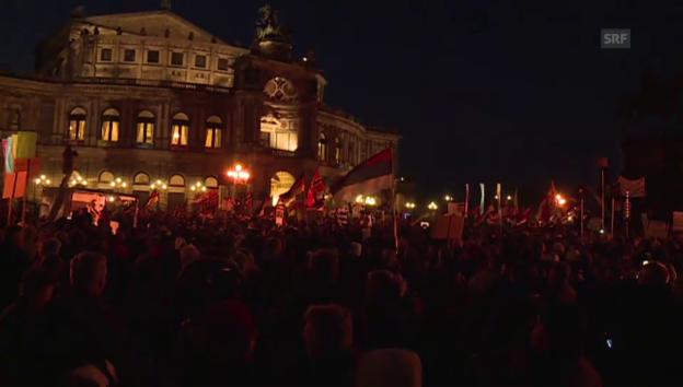 Video «Pegida-Anhänger demonstrieren in Dresden» abspielen