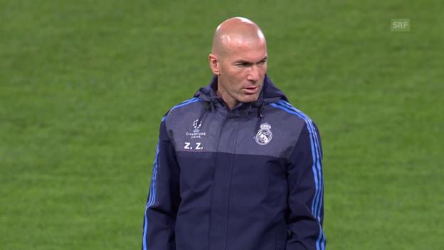 Video «Zidane vor seinem ersten CL-Spiel als Real-Coach» abspielen