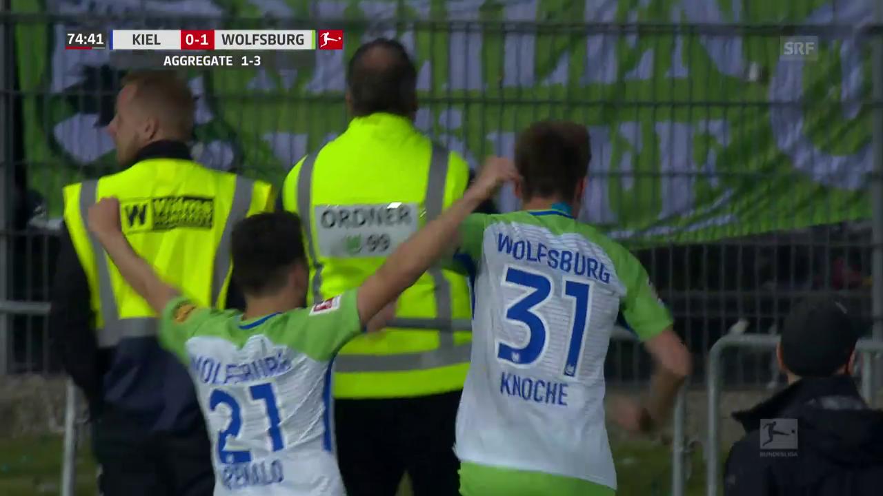 Wolfsburg siegt in Kiel und bleibt in der Bundesliga
