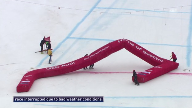 Video «Ski Alpin: Super-G in Bad Kleinkirchheim, Starker Wind verhindert Rennen» abspielen