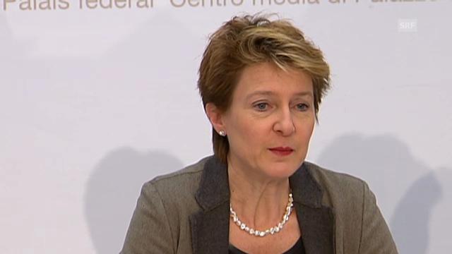Justizministerin Simonetta Sommaruga zum Waffenrecht (Originalton)