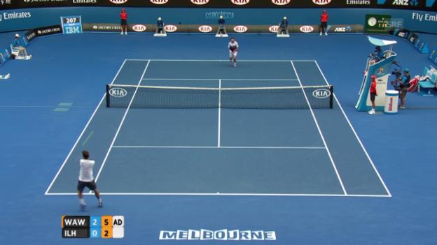 Video «Tennis: Australian Open, Wawrinka - Ilhan Highlights» abspielen