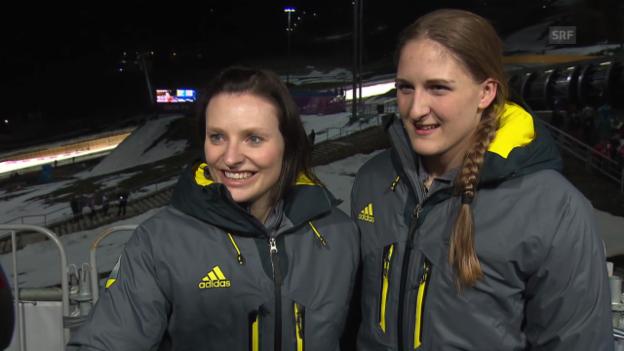 Video «Bob: Interview mit Fabienne Meyer und Tanja Mayer (sotschi direkt, 19.02.2014)» abspielen