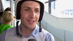 Video «Skisprung-Schanze in Luzern: Simon Ammann fliegt tief» abspielen