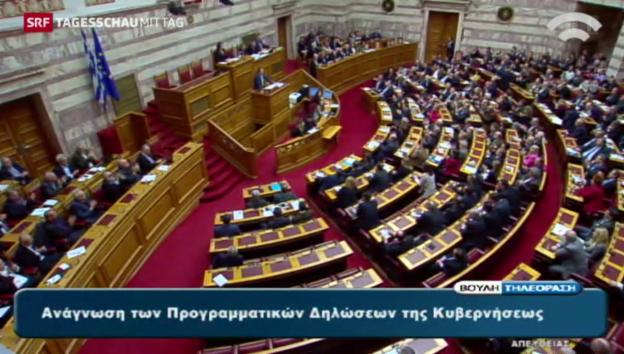 Video «Griechisches Parlament hinter Tsipras» abspielen