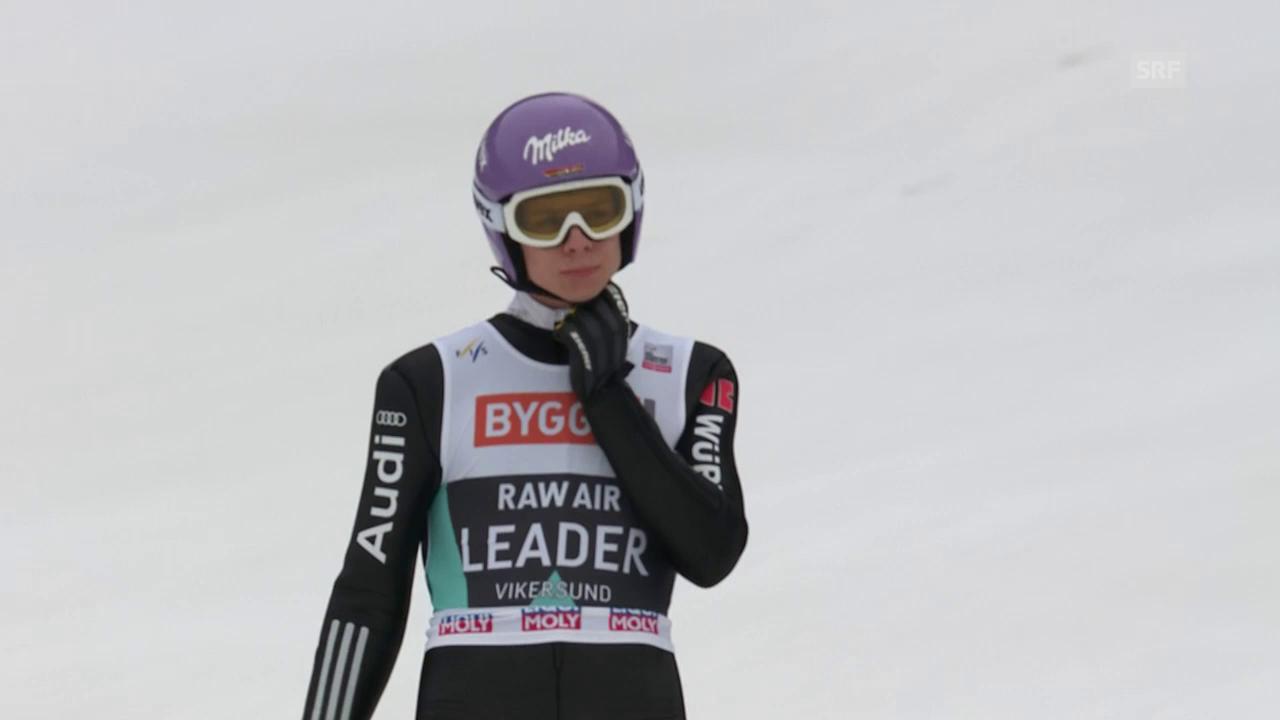 Andreas Wellingers Absturz beim letzten Sprung von Vikersund