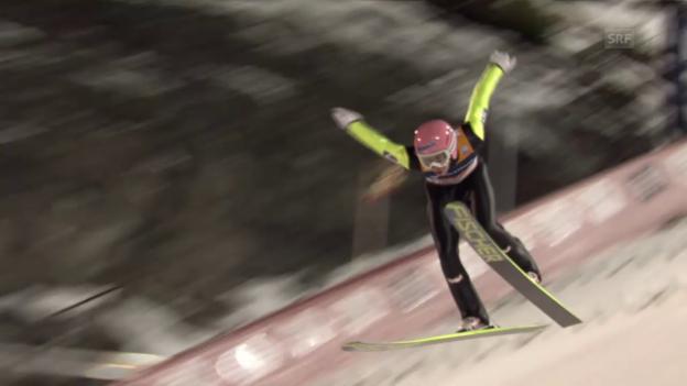 Video «Skispringen: Weltcup Trondheim, 2. Sprung Kraft» abspielen