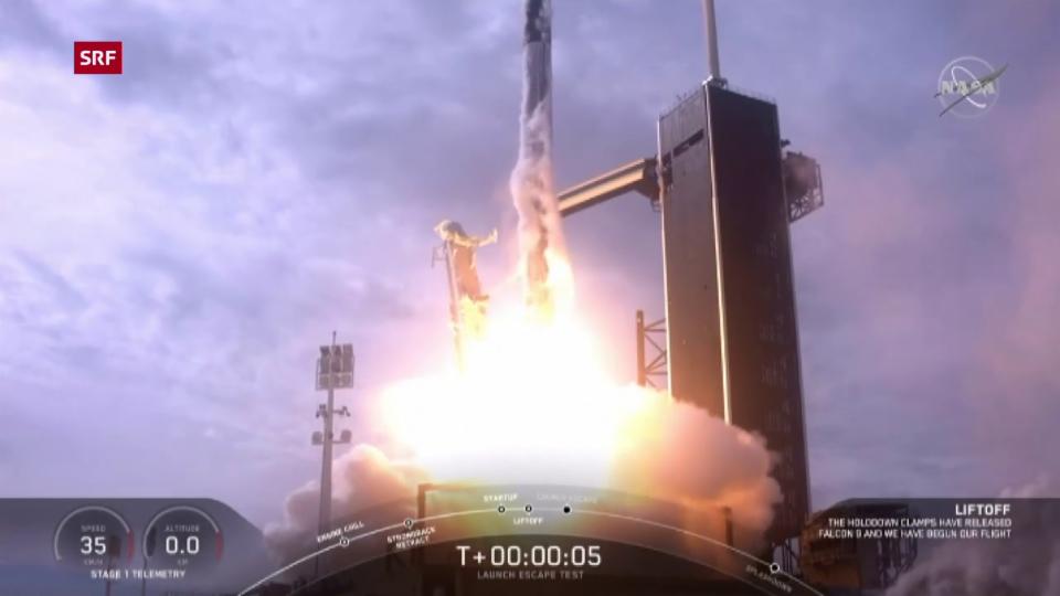 Aus dem Archiv: Start des SpaceX-Rettungssystems mit Puppen
