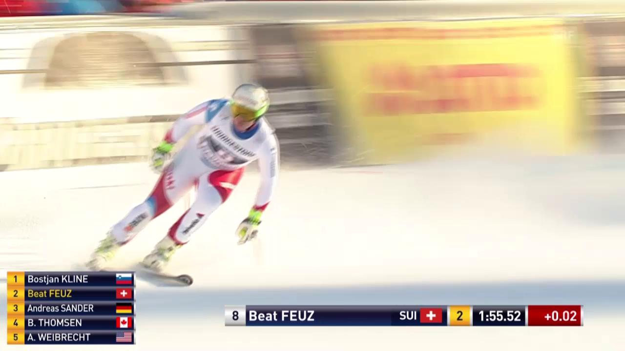 Beat Feuz mit einer schnellen Fahrt in Garmisch Partenkirchen