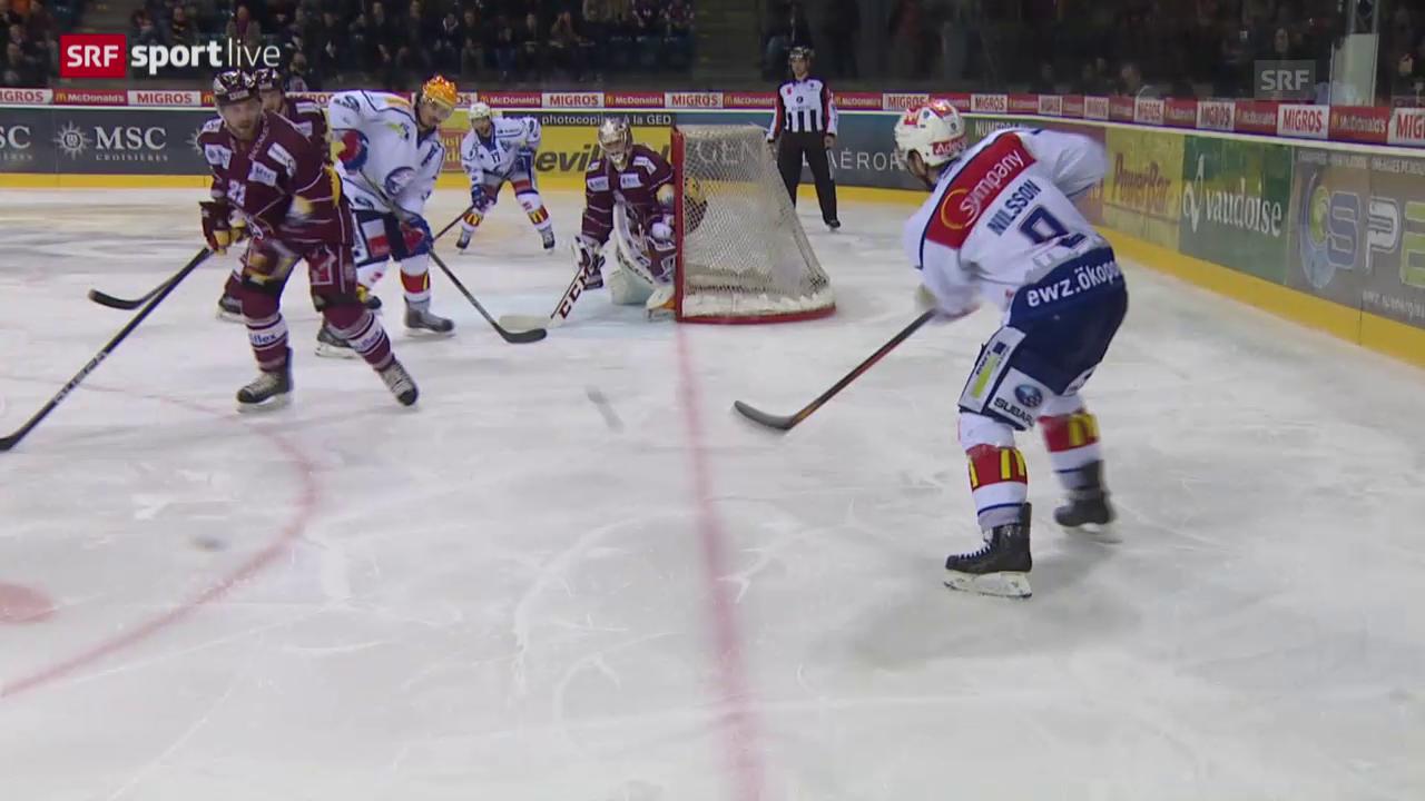 Eishockey: Playoffs 2015, 6. Halbfinal, Genf – ZSC, Pass von Robert Nilsson