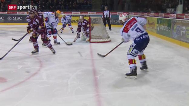 Video «Eishockey: Playoffs 2015, 6. Halbfinal, Genf – ZSC, Pass von Robert Nilsson» abspielen