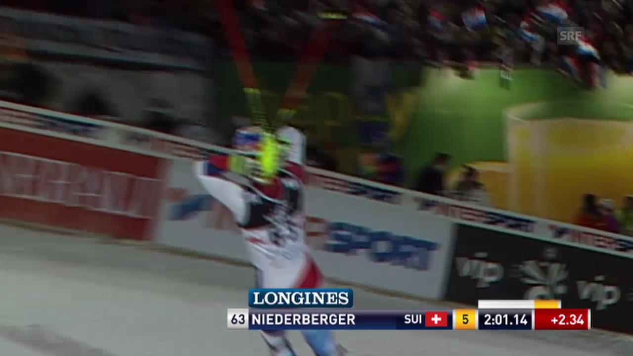 Ski alpin: Slalom in Zagreb, 2. Lauf Bernhard Niederberger