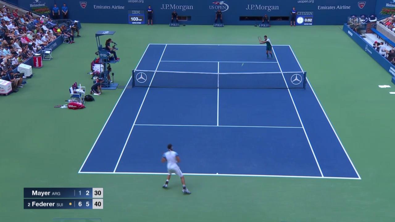 Tennis: US Open, Federer - Mayer, Satzball Satz 2