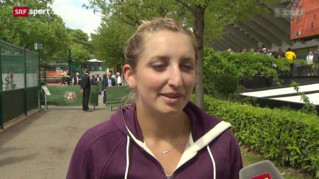 Video «Tennis: Timea Bacsinszky vor dem Viertelfinal in Paris» abspielen