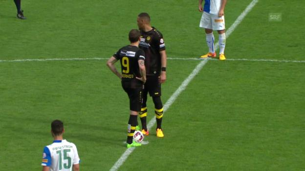 Video «Fussball: Super League, Rückrunde, GC-YB, 2:o Hoarau» abspielen