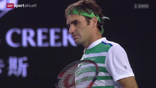 Video «Roger Federer verliert den Halbfinal an den Australian Open gegen Novak Djokovic» abspielen