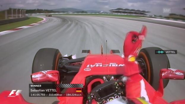Video «Formel 1: GP Malaysia, Vettel schlägt Mercedes-Duo» abspielen