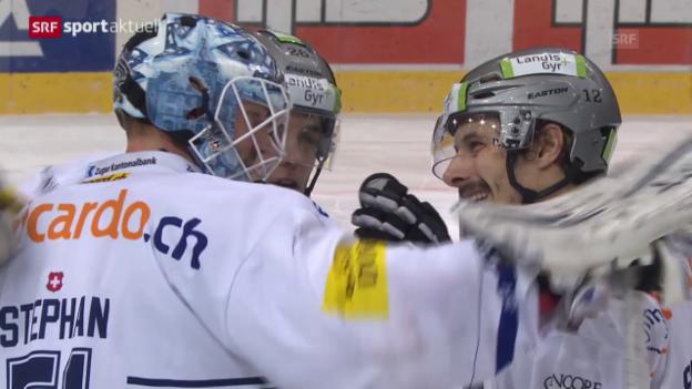 Video «Eishockey: NLA Zusammenfassung Bern-Zug («sportaktuell»)» abspielen