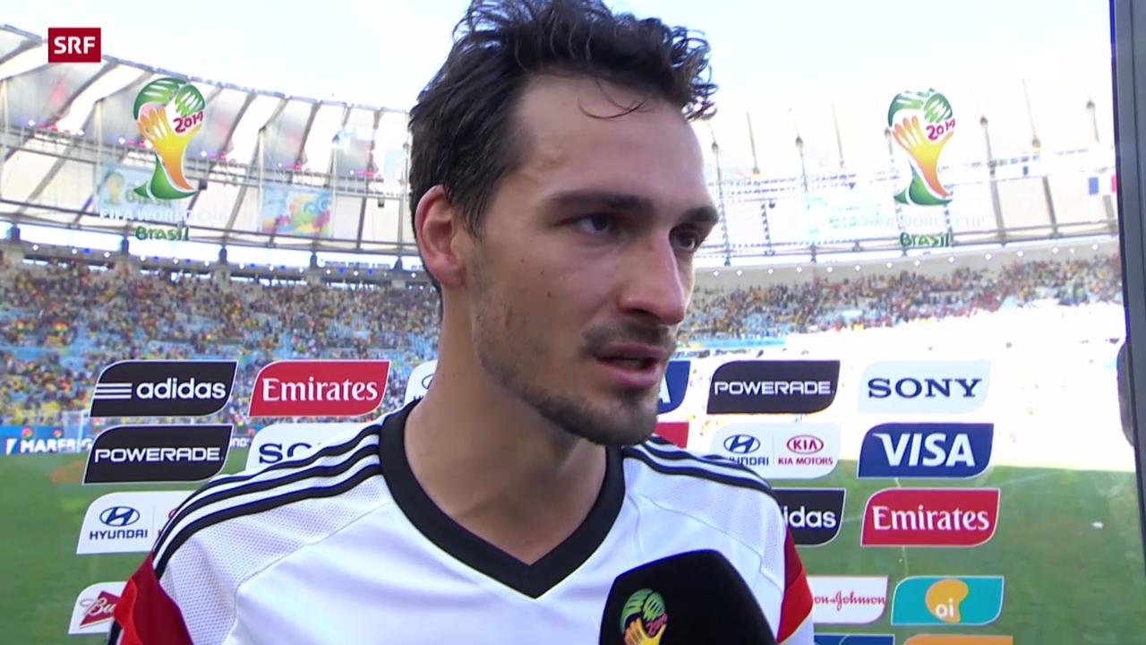 Fussball: WM 2014, Halbfinal Frankreich-Deutschland, Interview mit Mats Hummels