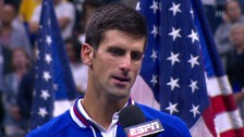 Video «Tennis: US Open, Final, Novak Djokovic im Platzinterview» abspielen