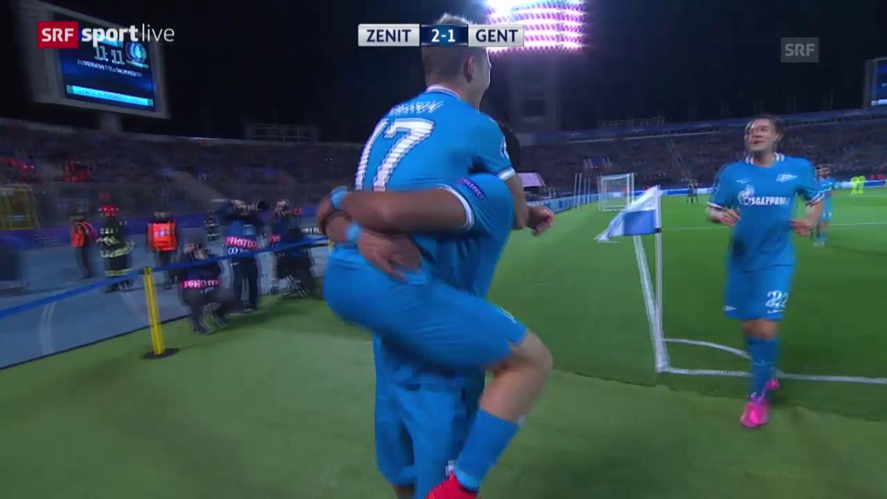Fussball: Champions League, Gruppenphase, 2. Spieltag, Zenit St. Petersburg - Gent