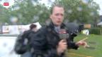 Video «Reporter muss Aufzeichnung abbrechen wegen Sturm» abspielen
