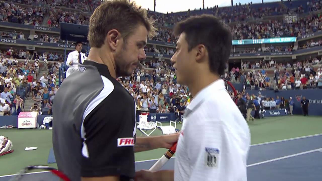 Tennis: US Open, Viertelfinal Wawrinka - Nishikori, die besten Ballwechsel