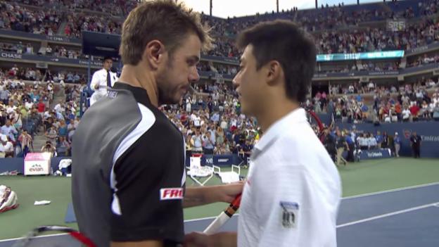 Video «Tennis: US Open, Viertelfinal Wawrinka - Nishikori, die besten Ballwechsel» abspielen